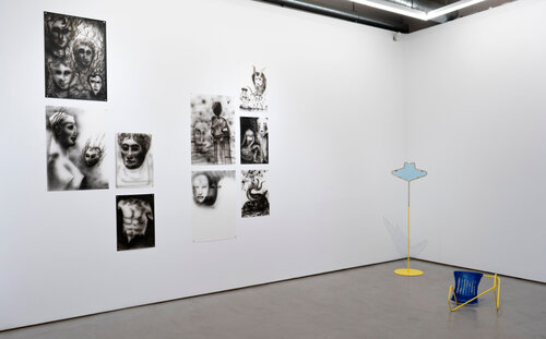 Exhibition view (left, works by Nadia Barkate; right, works by Belen Uriel)